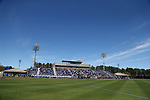 DURHAM, NC - APRIL 08: The players lineup for the playing of the national anthem. The Duke University Blue Devils hosted the University of Notre Dame Fighting Irish on April 8, 2017, at Koskinen Stadium in Durham, NC in a Division I College Men's Lacrosse match. Duke won the game 11-8.