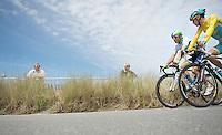 Michael Albasini (SUI/Orica-GreenEDGE) &amp; Vincenzo Nibali (ITA/Astana) to the start<br /> <br /> 2014 Tour de France<br /> stage 4: Le Touquet-Paris-Plage/Lille M&eacute;tropole (163km)