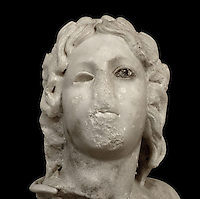 Marble female head found at the Qasr Al Bint temple excavation at Petra, Ma'an, Jordan, from the Petra Archaeological Museum. Petra was the capital and royal city of the Nabateans, Arabic desert nomads. Picture by Manuel Cohen