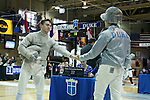 11 February 2017: UNC's Matthew Garrelick (left) and Duke's Duncan De Caire (right) shake hands after their Saber match. The Duke University Blue Devils hosted the University of North Carolina Tar Heels at Card Gym in Durham, North Carolina in a 2017 College Men's Fencing match. Duke won the dual match 19-8 overall, 6-3 Foil, 6-3 Epee, and 7-2 Saber.