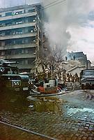 ROMANIA, Bucharest, March 5, 1977..Eartquake and fire ( Strada Galati / Strada Fucik)..ROUMANIE, Bucarest, 5 mars 1977..Incendie après le tremblement de terre qui fit plus de 2000 victimes..© Andrei Pandele / EST&OST