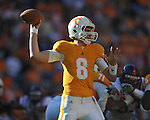 Tennessee quarterback Tyler Bray (8) passes in a college football game at Neyland Stadium in Knoxville, Tenn. on Saturday, November 13, 2010. Tennessee won 52-14.