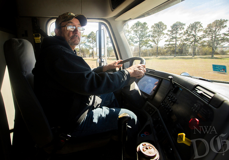 NWA Democrat-Gazette/JASON IVESTER<br /> Frank Richardson of Siloam Springs navigates a course Wednesday, March 1, 2017, during the CDL class at Northwest Technical Institute in Springdale.