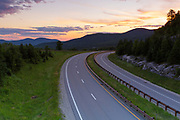 Sunrise from along Route 93 in the northern section of Franconia Notch State Park in the New Hampshire White Mountains during the summer months.