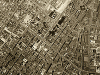Historical aerial photograph First Street City Hall Los Angeles, California 1948