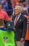 14 September 2014: Former Buffalo Bills and Montreal Alouette football coach Marv Levy listens to a pre-game tribute to  Ralph C. Wilson prior to a game against the Miami Dolphins at Ralph Wilson Stadium in Orchard Park, NY. The Bills defeated the Dolphins 29-10 to win their home opener and start the season with a 2-0 record. Mandatory Credit: Ed Wolfstein Photo *** RAW (NEF) Image File Available ***