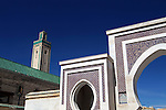 Africa, Morocco, Fes. Rcif Gate and Minaret in Fes.