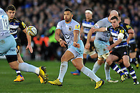 Luther Burrell of Northampton Saints passes the ball. Aviva Premiership match, between Bath Rugby and Northampton Saints on December 5, 2015 at the Recreation Ground in Bath, England. Photo by: Patrick Khachfe / Onside Images