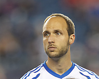 Montreal Impact midfielder Justin Mapp (21) In a Major League Soccer (MLS) match, Montreal Impact (white/blue) defeated the New England Revolution (dark blue), 4-2, at Gillette Stadium on September 8, 2013.