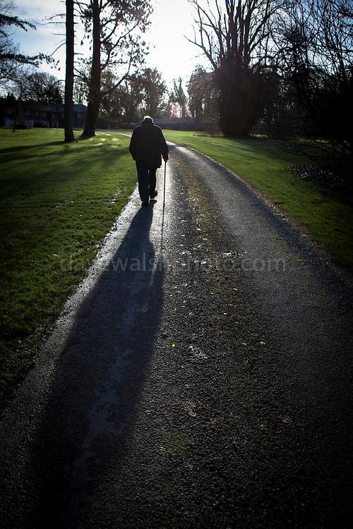 Dad, in winter sunshine, before Mick's wedding in Rathsallagh, Co. Wicklow
