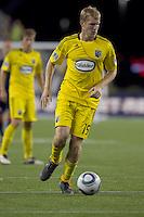 Columbus Crew midfielder Kevin Burns (15). The New England Revolution tied Columbus Crew, 2-2, at Gillette Stadium on September 25, 2010.