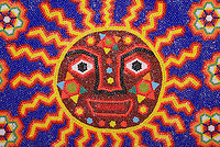 Detail of Huichol Indian beadwork painting, Mexico