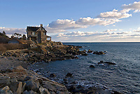 Maine, Kennebunkport, house on cliffs on coastline
