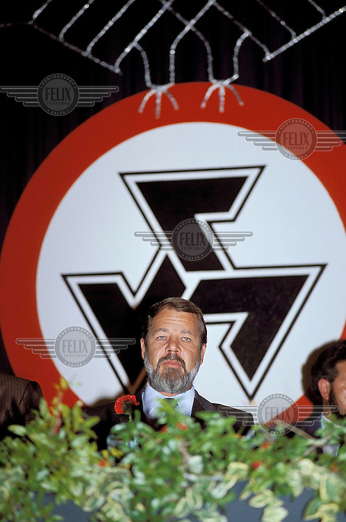 Eugene Terre'Blanche at a meeting of the Afrikaner Weerstandsbeweging (AWB - Afrikaner Resistance Movement).
