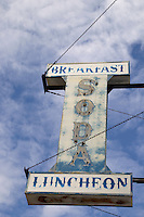 old fashion sign for a soda fountain restaurant