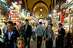 People shopping at the covered Spice Market in Istanbul, Turkey