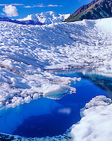 Blue glacial pool, Wrangell-St. Elias National PArk and Preserve, Alaska, Wrangell Mountains, Root Glacier