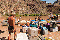 Private river trip de-rigging at Diamond Creek in the Lower Granite Gorge of the Colorado River, Grand Canyon National Prk. and the Hualapai Indian reservation. River Mile 226