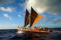 Polynesian voyaging canoe Hawai'iloa, Kaiwi Channel, between the islands of O'ahu and Moloka'i, September 1994.