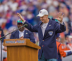 14 September 2014: Former Buffalo Bills quarterback and Pro Football Hall of Fame Member Jim Kelly addresses the sold out crowd with a tribute to Ralph Wilson Jr. prior to a game against the Miami Dolphins at Ralph Wilson Stadium in Orchard Park, NY. The Bills defeated the Dolphins 29-10 to win their home opener and start the season with a 2-0 record. Mandatory Credit: Ed Wolfstein Photo *** RAW (NEF) Image File Available ***