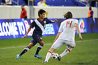 Nico Melo (8) of the USA is marked by Kyle McCord (14) of the New York Red Bulls. The USMNT U-17 defeated New York Red Bulls U-18 4-1 during a friendly at Red Bull Arena in Harrison, NJ, on October 09, 2010.