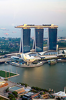 The Marina Bay Sands hotel seen from the restaurant of another luxury resort hotel the Swissotel The Stamford.