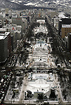 View of Odori Park where the Ice and Snow carving competition takes place. These are not traditional Frosty the Snowmen, but huge carved and chiseled Samurai Warriors, Buddhists gods, historical heroes of fairy tales and Walt Disney characters. Some stand as big as buildings. Chiseled out of tons of packed snow, the sculptures are the pride and job of the residents of Sapporo, Japan, who hosts the world famous Ice and Snow Sculpture Festival for five days in early February.Themes of the sculptures are picked from Kabuki stages, historical characters or fairy tales. (Jim Bryant Photo).....