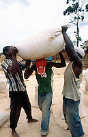 Kenya. Rift Valley Province. Matisi. Two men are helping another man to carry on his back a heavy bag full of maize seeds to load it on the back of a truck. © 2004 Didier Ruef