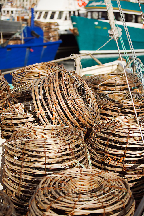 Lobster pots on a fising boat in Victoria Dock.  Hobart, Tasmania, AUSTRALIA