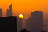 Dubai skyline at sunset, Dubai, United Arab Emirates