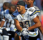 19 October 2008:  San Diego Chargers' wide receiver Vincent Jackson rests on the sidelines during a power outage in the 1st quarter against the Buffalo Bills at Ralph Wilson Stadium in Orchard Park, NY. The Bills defeated the Chargers 23-14 and maintain their first place position in the AFC East with a 5 and 1 record...Mandatory Photo Credit: Ed Wolfstein Photo