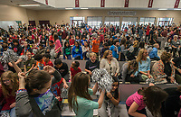 NWA Democrat-Gazette/ANTHONY REYES @NWATONYR<br /> Holt Middle School students cheer Thursday, March 16, 2017 during a celebration for the school being named as a Diamond School to Watch at the school in Fayetteville. Holt and Woodland Jr. High were both named to the 2017 Arkansas Diamond Schools to Watch by the Arkansas Association of Middle Level Education. Schools to Watch is an initiative launched by the National Forum to Accelerate Middle-Grades Reform in 1999. Through Schools to Watch, the National Forum identifies schools across the nation that are well on their way to meeting the Forum&rsquo;s criteria for high performance.