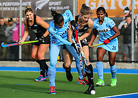 Shiloh Gloyn of the Blacksticks tackles during the international hockey match between the Blacksticks Women and India, Rosa Birch Park, Pukekohe, New Zealand. Sunday 14  May 2017. Photo:Simon Watts / www.bwmedia.co.nz