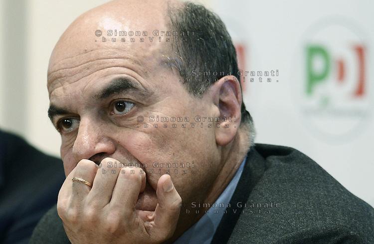 Roma, 28 Dicembre 2012. Pier Luigi Bersani durante la conferenza stampa per la candidatura di Piero Grasso