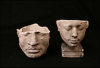 BNPS.co.uk (01202 558833)<br /> Pic: ThomsonRoddick/BNPS<br /> <br /> 19th century plaster death mask phrenology head sold for &pound;2,000.<br /> <br /> These disturbing Victorian plaster cast heads of notorious criminals are a far cry from today's bland mugshots of lowlifes.<br /> <br /> Two of the heads have been identified as Benjamin Courvoisier, a serial killer in the mould of Jack the Ripper, and coachman Daniel Good who mutilated his pregnant mistress. <br /> <br /> In total, nine heads were discovered at an outbuilding at a rural home just outside Penrith, Cumbria, which have now fetched almost &pound;40,000 at auction. <br /> <br /> Experts predicted the collection of heads would sell for &pound;2,000  but Courvoisier's head alone went for &pound;20,000.<br /> <br /> Two of the heads were made by the famous British exponent of phrenology, James De Ville, who built a private museum of more than 5,000 specimens.