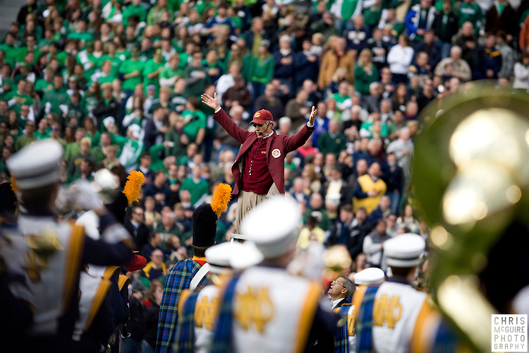 10/17/09 - South Bend, IN:  USC band director Arthur C. Bartner directs the Notre Dame band in the Star Spangled Banner at Notre Dame Stadium on Saturday.  USC won the game 34-27 to extend its win streak over Notre Dame to 8 games.  Photo by Christopher McGuire.