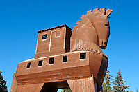 Replica of the wooden horse of Troy archaeological site, A UNESCO World Heritage Site, Turkey