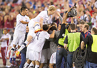 Phoenix, AZ - Saturday, January 21, 2012: The USA team celebrates Ricardo Clark's goal as the USA Men's national team defeats Venezuela 1-0, at the University of Phoenix Stadium.
