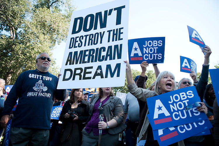 """UNITED STATES - OCTOBER 5: The Campaign for America's Future holds their """"Jobs, Not Cuts"""" rally at the U.S. Capitol as part of their conference on """"Take Back the American Dream"""" on Wednesday, Oct. 5, 2011. (Photo By Bill Clark/CQ Roll Call)"""