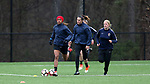 RALEIGH, NC - MARCH 13: Jessica McDonald (left), Katelyn Rowland (center), and Makenzy Doniak (right) run laps. The North Carolina Courage held their first ever training session on March 13, 2017, at WRAL Soccer Center in Raleigh, NC to start their preseason before the 2017 NWSL Season. Prior to its offseason relocation the team was known as the Western New York Flash.