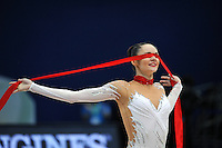 September 10, 2009; Mie, Japan;  Image shows closeup of Anna Bessonova of Ukraine finishing ribbon routine to win silver during Event Final on this day at 2009 World Championships Mie. Anna was the 2007 AA world champion at Patras, Greece in the individual All Around. Photo by Tom Theobald.