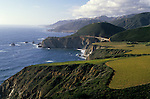 Scenic landscape along California coastline with rock formations near Big Sur along Highway 1 California USA.