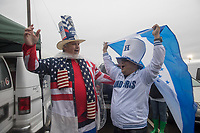 SAN JOSE, CA - March 24, 2017: USA and Honduras fans interact before the CONCACAF World Cup Qualifier game between the USA and Honduras at Avaya Stadium.