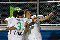 New York Cosmos player Leo Fernandes (R ) celebrates with his teammates after scoring the second goal against Tampa Bay Rowdies during the North American Soccer League in New York. Eduardo MunozAlvarez/VIEWpress 04/18/2015