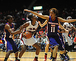 Ole MIss' Courtney Marbra (25) vs. Northwestern State's Markeisha Johnson (23) and Breanna Fuller (11) in women's college basketball action in Oxford, Miss. on Friday, November 16, 2012. Ole Miss won 67-51.