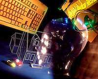 design abstract collage glass head computer keyboard house car