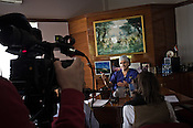 58 year old heart surgeon, Dr. Devi Prasad Shetty speaks during an interview with a French Television Crew in his office at the Narayana Hrudayalaya in Bangalore, Karnataka, India. Photo: Sanjit Das/Panos