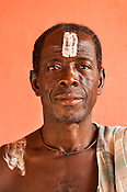 Monkey priest in ceremonial attire, Boabeng-Fiema village, Ghana