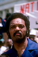 Washington, DC - March 17, 1980. Founder, Reverend Jesse Jackson, at Operation PUSH (People United to Serve Humanity) protest. He ( October 8, 1941) is a political activist for civic rights, notably those of the black community. During the operation thousands of protesters demonstrated, in front of the White House, for employment, against the rising cost of living, and the politics of American President Jimmy Carter.