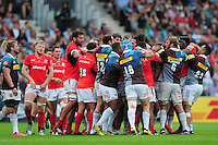 Tempers flare between both sides. Aviva Premiership match, between Harlequins and Saracens on September 24, 2016 at the Twickenham Stoop in London, England. Photo by: Patrick Khachfe / JMP